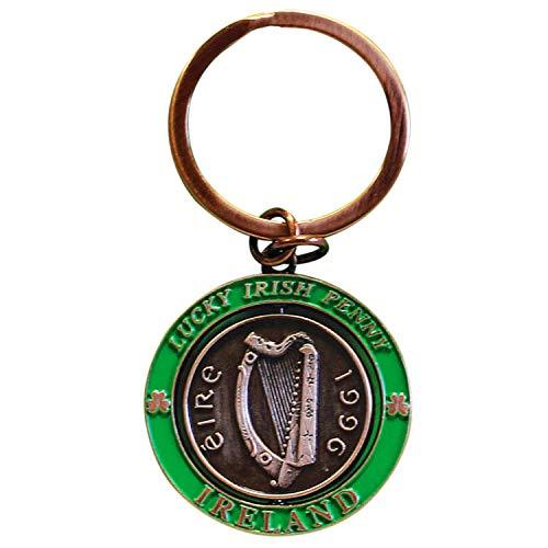 - Lucky Irish Penny Spinner Keychain Irish Harp,Copper,One Size