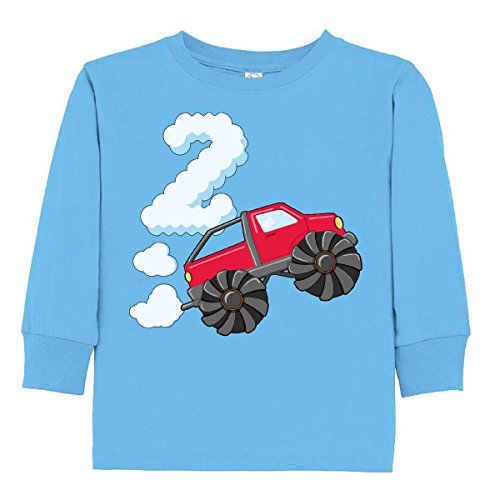 inktastic 2nd Birthday Monster Truck Toddler Long Sleeve T-Shirt 2T Light Blue