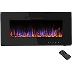 "R.W.FLAME 36"" Recessed Electric Fireplace Heater,Wall Mounted & in-Wall Fireplace Heater Flat Panel,Remote Control, Adjustable Flame Speed, 750W-1500W"