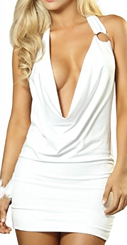 Mapalé by Espiral Women's Super Sexy Plunging Cowl Dress, White, Large