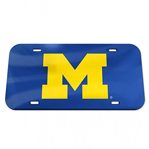 NCAA University of Michigan 09010115 Crystal Mirror License Plate, (Michigan Mirror)