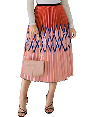 Womens Party Pleated Skirts Rainbow Stripes Printed Colorful Elastic Waist Elegant A-Line Long Swing Midi Skirt Rhomb XL -
