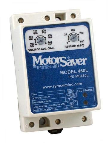 SymCom MotorSaver 3-Phase Voltage Monitor, Model 460-L, 190-480V, Fixed Unbalance and Trip Delay, DIN Rail Mount