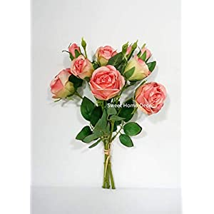 Sweet Home Deco, 17'' Silk Cabbage Rose, Artificial Floral Bunch, Single Stems, Wedding/Home/Party Decorations, Realistic Roses 107