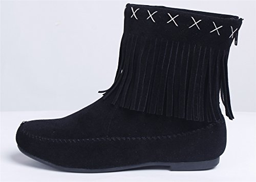 AgeeMi Shoes Women's Slip On Faux Suede Fringed Flat Ankle Comfort Boots Shoes Black bQZPAnhtQE
