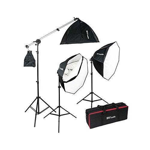 Smith Victor OctaBella 1500W 3-Light LED Softbox Kit with Boom Arm [並行輸入品]   B078FZT8HQ