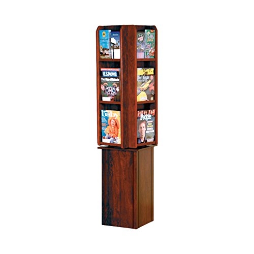 Wooden Mallet LM24-FSMH Divulge Spinning Floor Display with 12 Magazine/24 Brochure Pockets, ()