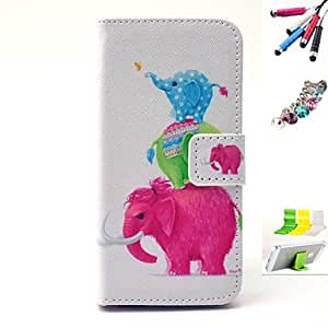 SHOUJIKE Elephant Pattern PU Material Holster And Stylus Pen Dust Plug Bracket Assembly for iPhone 5/5S