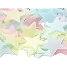 100pcs 3cm Multi-coloured Fluorescent Stars-Glow In The Dark Stars Decal for Baby Kid's Nursery Room-Plastic Luminous Wall Stickers for Bedroom Decoration