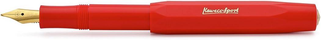 Medium Kaweco F/üllfederhalter Classic Sport mit 23 KT vergoldeter Stahlfeder und Iridiumspitze f/ür Tintenpatronen I Kaweco Sport F/üller 13,5 cm Rot Federbreite M