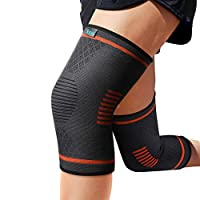 Sable Knee Braces Compression Sleeves 1 Pair for Men & Women - Knee Support for Running, Basketball, Weightlifting, Gym, Workout, Sports and More, Orange, Medium