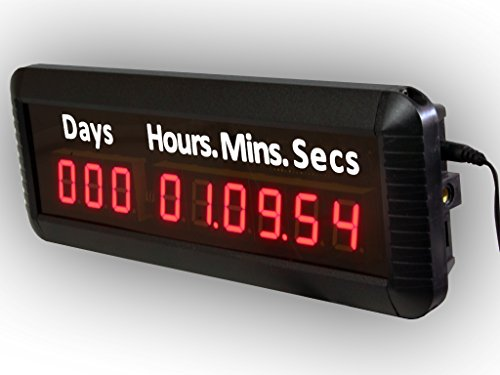 EU 9Digits 1'' LED Days Countdown CountUP and Clock Red Color 999 Days with Hours Minutes Seconds IR Remote Control Aluminum Casese by EU DISPLAY (Image #1)