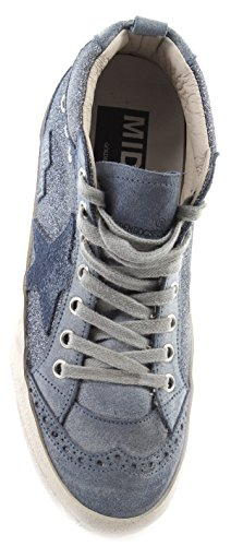 Glitter Italy Star Blu Blue Scarpe Goose G30WS634F5 Golden Sneakers Donna Mid T4Aw86Bx