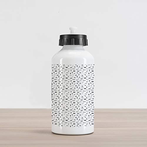 Lunarable Musical Aluminum Water Bottle, Flat of Pan Flute Maracas Accordion Harp Guitar and Tambourine, Aluminum Insulated Spill-Proof Travel Sports Water Bottle, Charcoal Grey and White