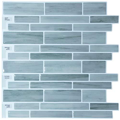 """Crystiles Peel and Stick DIY Backsplash Tile Stick-on Vinyl Wall Tile for Kitchen and Bathroom, Item #91010848, 10"""" X 10"""", 1 Sheet Sample"""