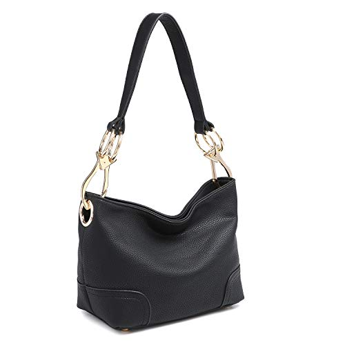 Dasein Women's Classic Faux Leather Hobo Purse Shoulder Bag Tote Handbag (7967 Smaller Style- Black) Classic Hobo Style Handbag