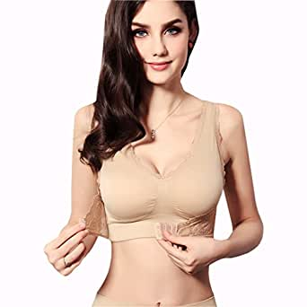 CrazyPomelo Light Sports Easeful Vest Front Clasped Wirefree Bra Apricot - L