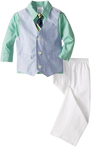 IZOD Little Boys' Toddler Solid Oxford Vest Toddler Set, Greengage, 2T/2