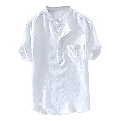 Men's Summer New Pure Cotton Hemp Button Short Sleeves Fashion Large Blouse Top ()