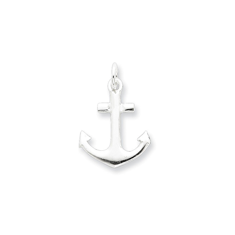 Mireval Sterling Silver Anchor Charm on a Sterling Silver Carded Box Chain Necklace 18
