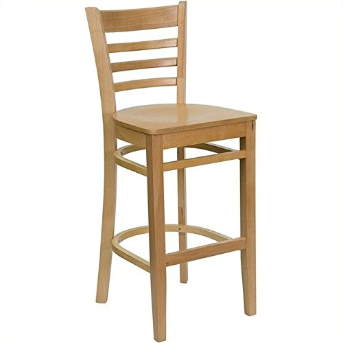 flash furniture hercules series ladder back natural wood restaurant barstool