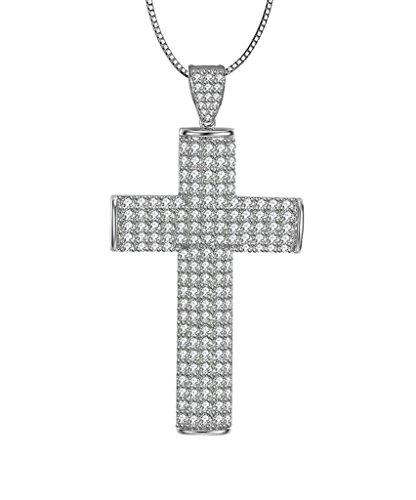 AMDXD Jewelry Argent Sterling 925 Femmes Pendentif Collier Croix Cubic Zirconia comme Cadeau D'anniversaire