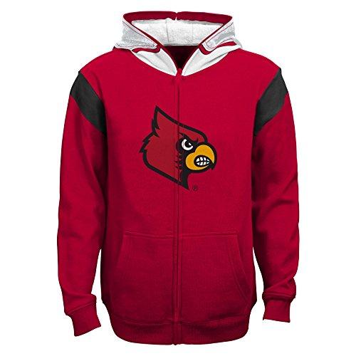 NCAA Louisville Cardinals Youth Boys 8-20 Helmet Full Zip Hoodie, Large (14-16), University Red