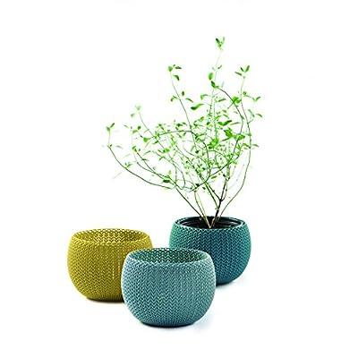 Keter vasi per Piante da Interni/Esterni Realizzati a Maglia–Colori Assortiti, Set da 3