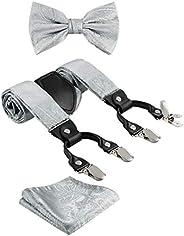 TIE G Paisley Suspender, Bow Tie, Pocket Square Set for Men's Tuxedo Suspenders : Adjustable Braces, Stron
