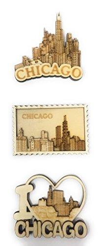Chicago Souvenir Balsa Wood 3D Refrigerator Magnet