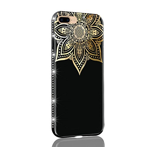 TPU Funda para iPhone 7 Plus, Carcasa para iPhone 7 Plus 5.5 pulgadas, Sunroyal Bling Diamante Funda de Gel de Silicona Soft TPU Ultra Slim Bumper Delgado Ligero Caja Anti Rasguños Anti Choque para i D-06