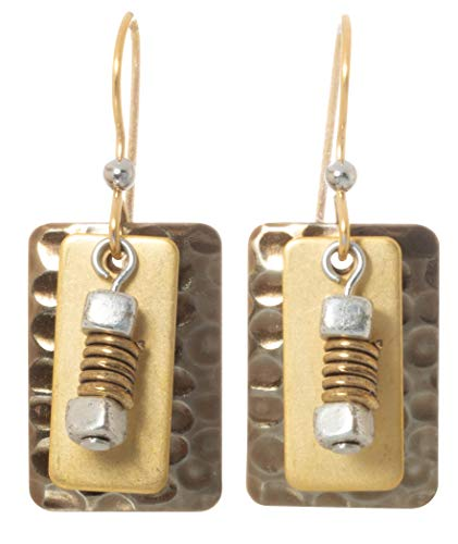 Silver Forest Gold Plated Layered Rectangle Wire Wrap Bead Dangle Earrings