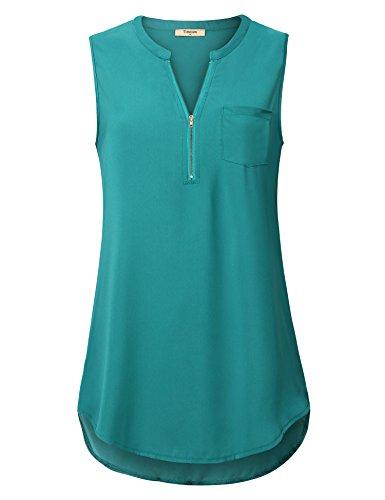 Timeson Blouses For Women  Womens Sleeveless Summer Tunics Tops V Neck Office Work Chiffon Tank Tops Sexy Zipper Curved Hem Sheer Dressy Casual Blouse Shirt For Leggings Deep Cyan Large