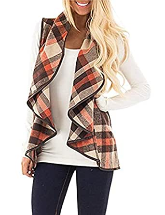 AIMICO Womens Vest Plaid Sleeveless Lapel Open Front Cardigan Sherpa Jacket with Pockets Khaki S