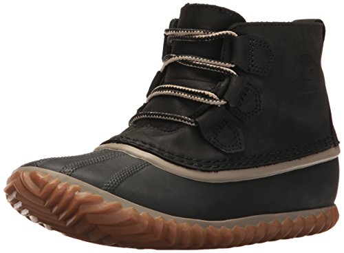 Sorel Women's Out N About Leather Rain Snow Boot, Black, 6 M US