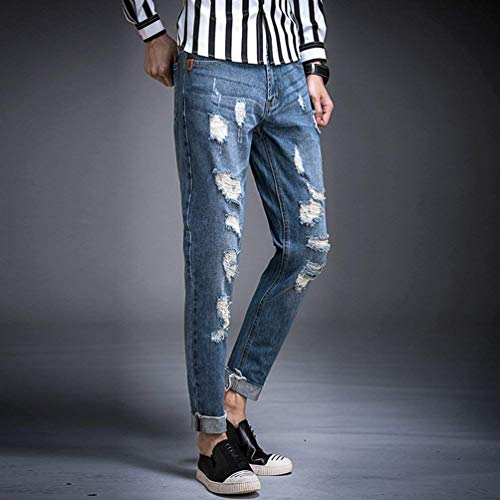 Strech Uomo Basic Strappato Pantaloni Casual Fit Jeans Tlich Cool Holes Marca Da Blau Di Jeggings Mode Pants Straight Denim Skinny qEwxR8x5Z