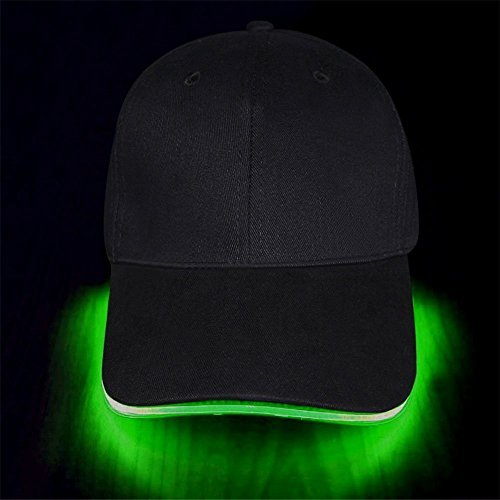 Cap Green Cloth (jiguoor LED Hat led Lighted Glow Club Party Sports Athletic Black Fabric Travel Flashlight Light up Hat Baseball Golf Hip-hop Sports Flash Cap Stage Performance Men Women US (Multicolored))