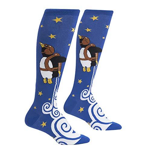Sock It to Me, Junior Children's Knee High Socks: Penguin Taking Flight - Blue - Fits Kids Ages 7-10