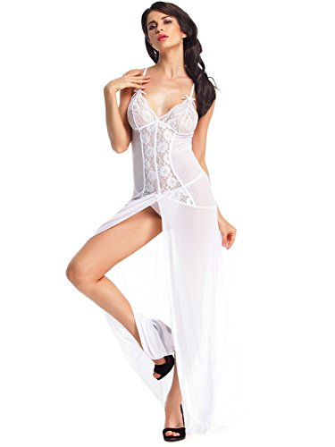 Amoretu Womens See Though Lingerie Floral Lace Nightdress Bridal Gowns White