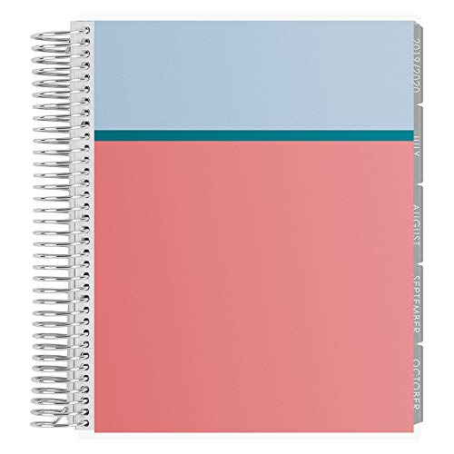 Erin Condren 18-Month July 2019 - Dec 2020 Coiled LifePlanner - Colorblock (Powder Blue, Peacock, Coral), Horizontal (Neutral Layout)