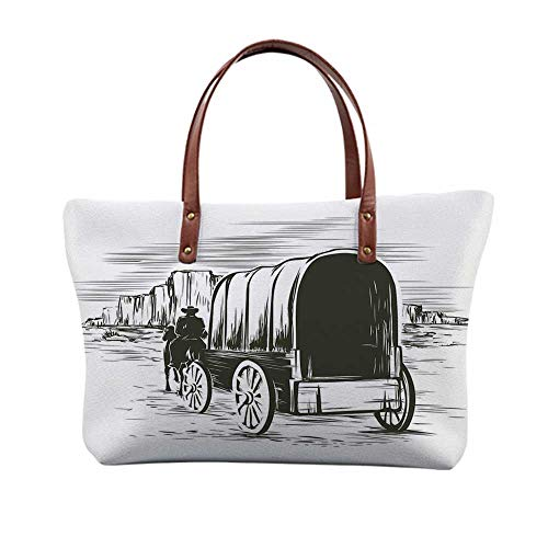 (Western Stylish Print Top Handle Bags,Old Traditional Wagon Wild West Prairies Pioneer on Horse Transportation Cart Decorative for Women,15.3