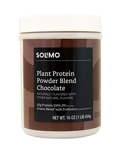 Amazon Brand – Solimo Plant Protein Powder Blend, Chocolate, 1 Pound, 13 Servings