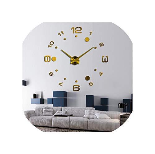 Tanng Fashion DIY 3D Wall Clock Design Acrylic Mirror Clocks Europe Stickers -