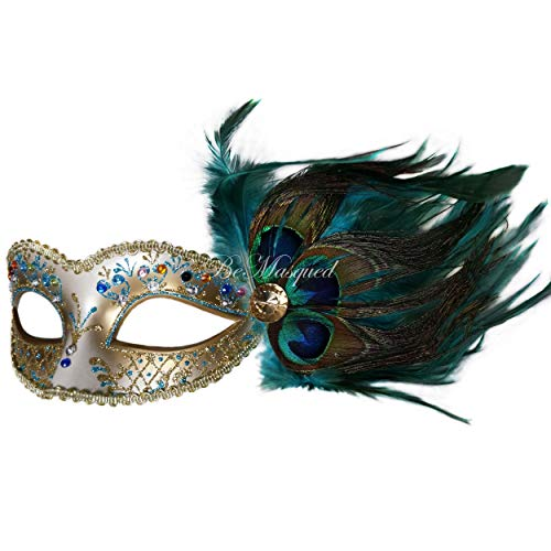 BeMasqued Peacock Feather Venetian Mask Blue Unisex Adult Women One-Size Masquerade Prom Mardi Gras Halloween Costume -