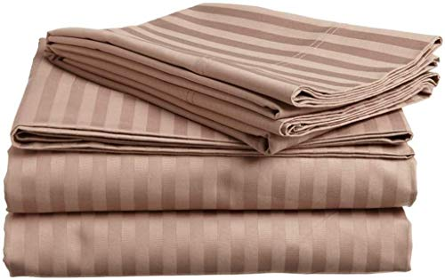 Orion Bedding Present- 100% Cotton 600 TC 4 Piece Premium Sheet Set (1 Fitted Sheet, 1 Flat Sheet and 2 Pillowcases) Fit Up to 12-Inch-Deep Pocket (Queen, Taupe Stripe)