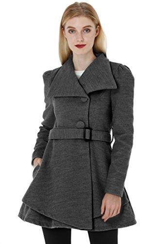 Wantdo Women's Wool Wrap Swing Coat with Belt