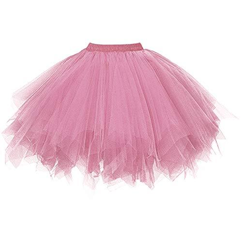 (Dressever Vintage 1950s Short Tulle Petticoat Ballet Bubble Tutu Blush)