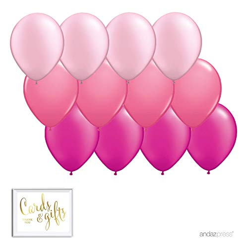 Andaz Press 11-inch Balloon Trio Party Kit with Gold Cards & Gifts Sign, Blush Pink, Rose Pink, Fuchsia, 12-Pack, Ombre Pink, Elephant, Llama, Flamingo, Theme Supplies, Fill with Air or Helium -