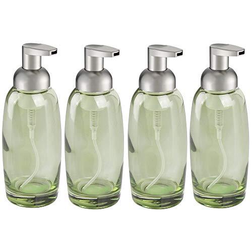 mDesign Modern Glass Refillable Foaming Soap Dispenser Pump Bottle for Bathroom Vanity Countertop, Kitchen Sink - Save on Soap - Vintage-Inspired, Compact Design - 4 Pack - Green/Brushed