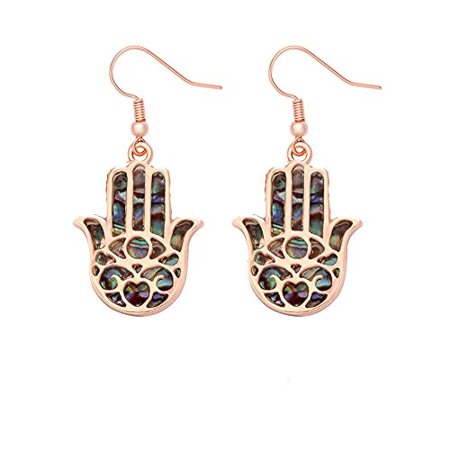 MANZHEN Good Luck Protection Abalone Paua Shell Hamsa Hand Dangle Earrings (rose - Earrings Fatima